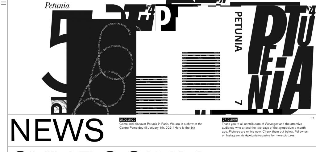screenshot of the website of petuniamagazine.eu