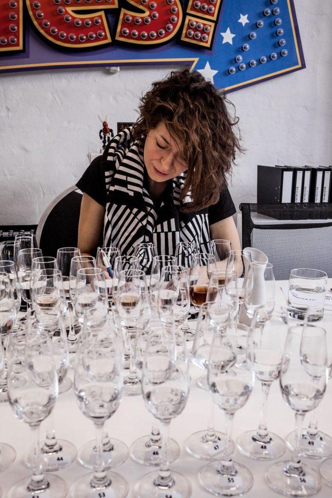 valerie chartrain testing clear spirits at craft spirits award 2019