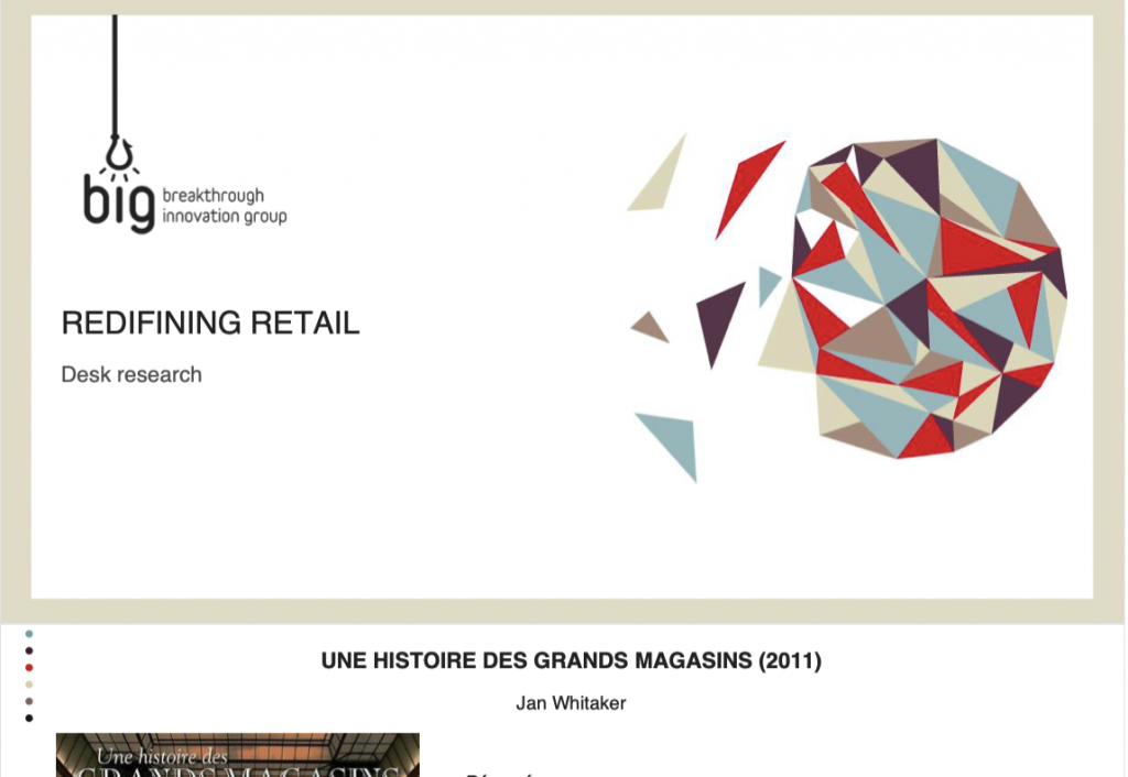 screenshot of the cover of one report about retail made for BIG by valerie chartrain